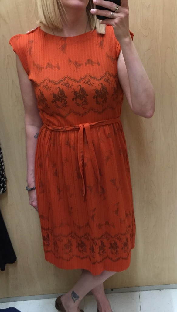 Next to thrifting Anthropologie, I LOVE thrifting unique vintage pieces and so I had to take home this vintage dress for $5.60 in a colour that's majorly trending for Spring and Summer - orange!
