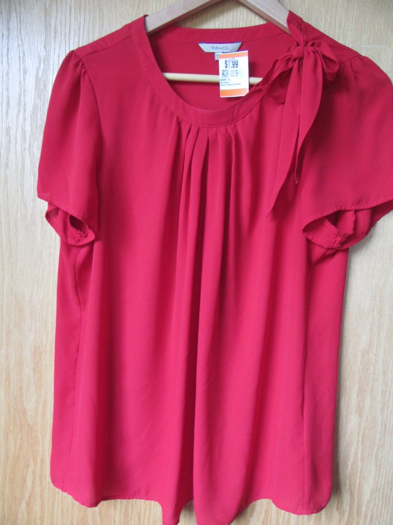 LOVE this gorgeous shade of red and the pretty shoulder button and bow! RW blouse for