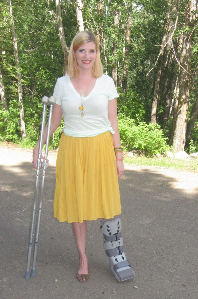 Here's my take on the Tuesday Try: J Crew mint tee $3, mustard skirt $8, shoes $3 plus accessories by She Does Create.
