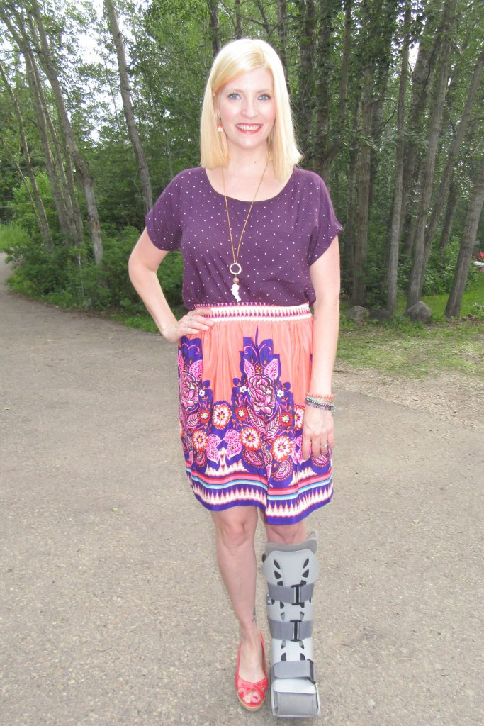 Styled with my purple polka dot tee $4, coral peep toe wedges $7.70 and She Does Create coral pendant and arm party.