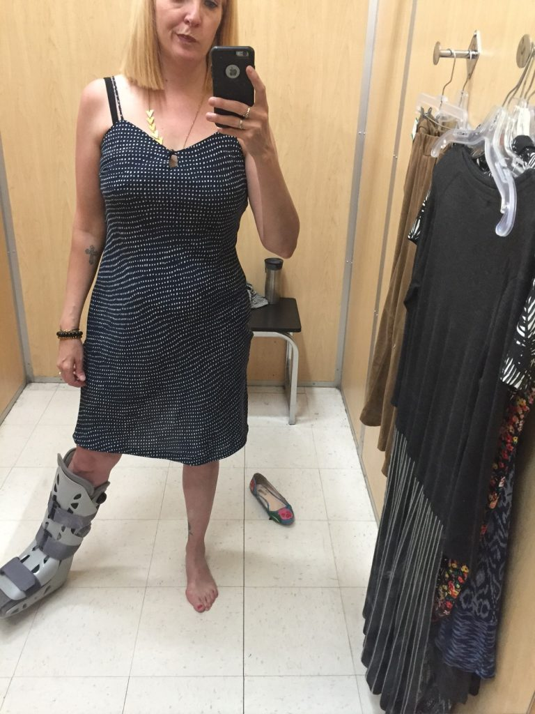 I've been hunting for a slip dress and this one was navy polka dots and a decent length!!! But the darts were in the wrong place. Or my boobs were in the wrong place (again). Pass.