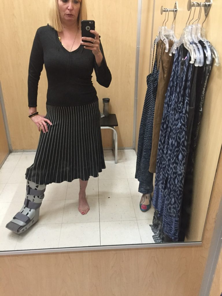 This was a new-with-tags Orly dress. Pardon me, a horribly designed dress. Someone needs to upcycle this into something wearable. Pass.