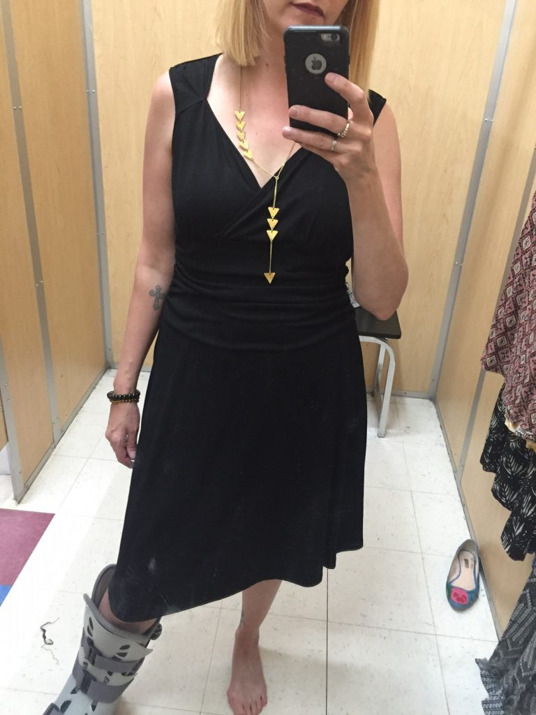 I'm looking for a little black dress that I can wear whilst camping. This one looked like a sure winner until I put it on and discovered a built in control-top slip. Not while camping, that's for sure. I don't want any reminders how many s'mores I'm eating, thank you very much.