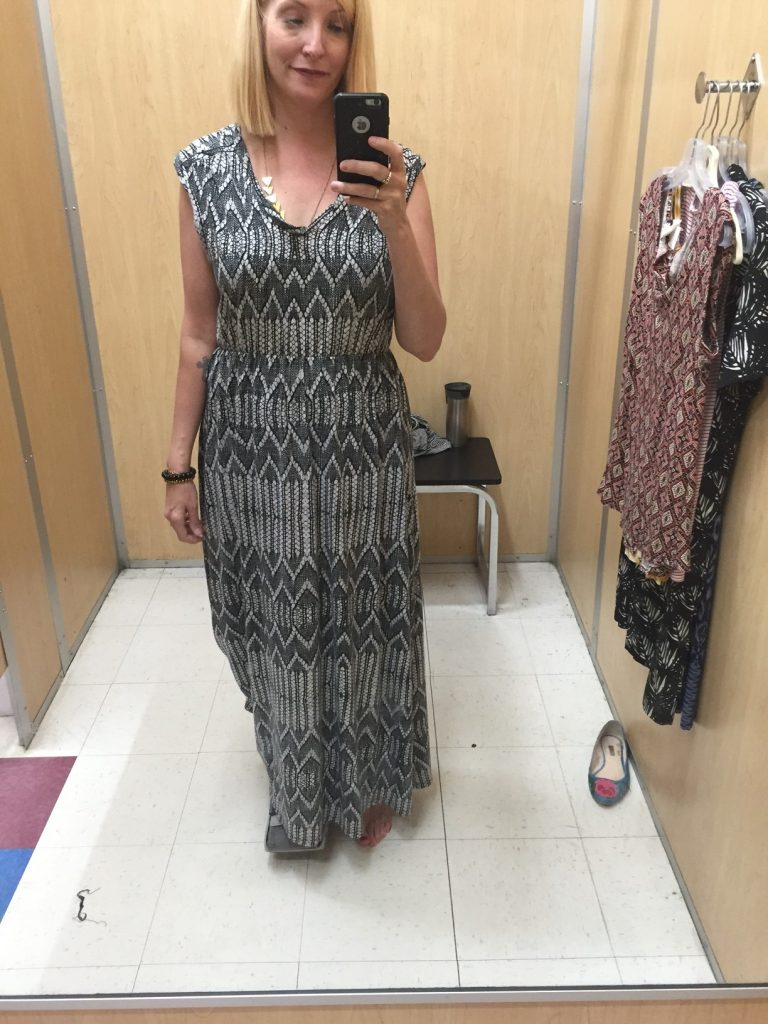 This maxi dress is a comfy jersey material in a perfect camouflaging material! And YES you can wear a maxi dress camping - keeps the mosquitoes off, negates the need to shave your legs. WINNING for $7!!