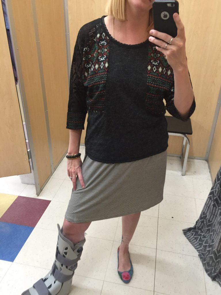 Miss Me top with red, green, charcoal and crocheted detailing at the shoulders. I envision it with denim shorts or a fancy skirt - I'll have no problem getting $4.90 worth of wears out of it!