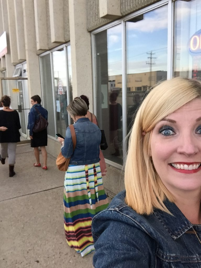 Me and me ladies heading in for some booze, I mean education.