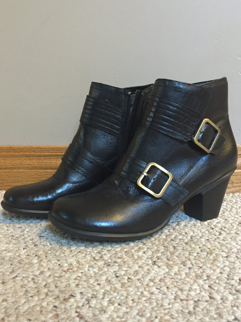 The first thing I bought, right after my bunion surgery, were these Miz Mooz ankle boots - on a great sale for $85! I can't actually get my foot in them quite yet but I will!! I'm sure!!!