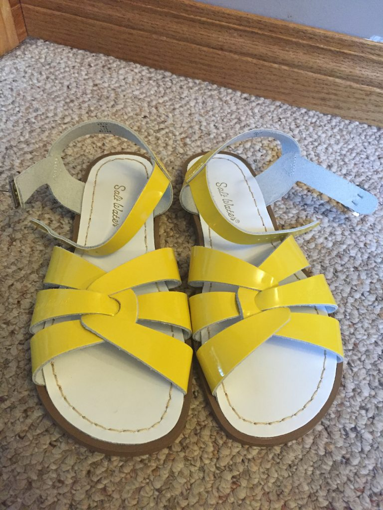I have had my eye on Salt Water Sandals for years, ever since I started reading fashion blogs and heard all the bloggers raving about them. Since it was my splurge and practicality not the priority, I got myself some bright yellow ones! Now I just have to wait till my swelling settles down and then I can wear them for more than 5 minutes in the morning!