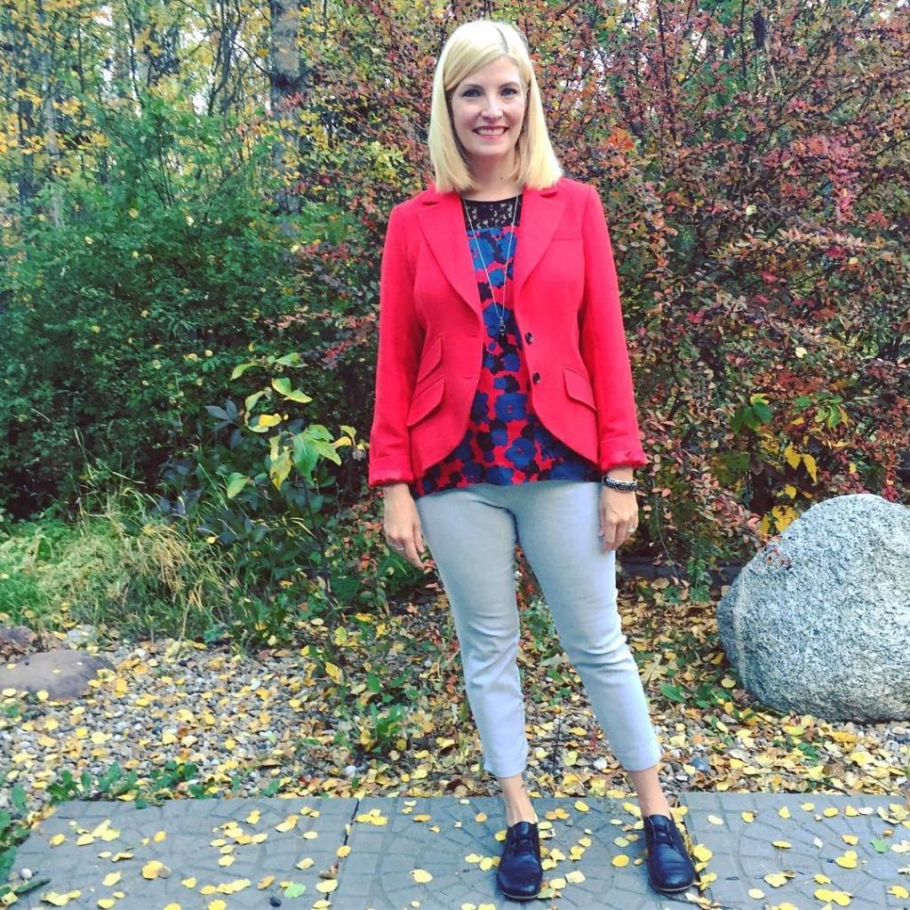 Red Joe brand wool blazer $7 and Lila Rose pants $7