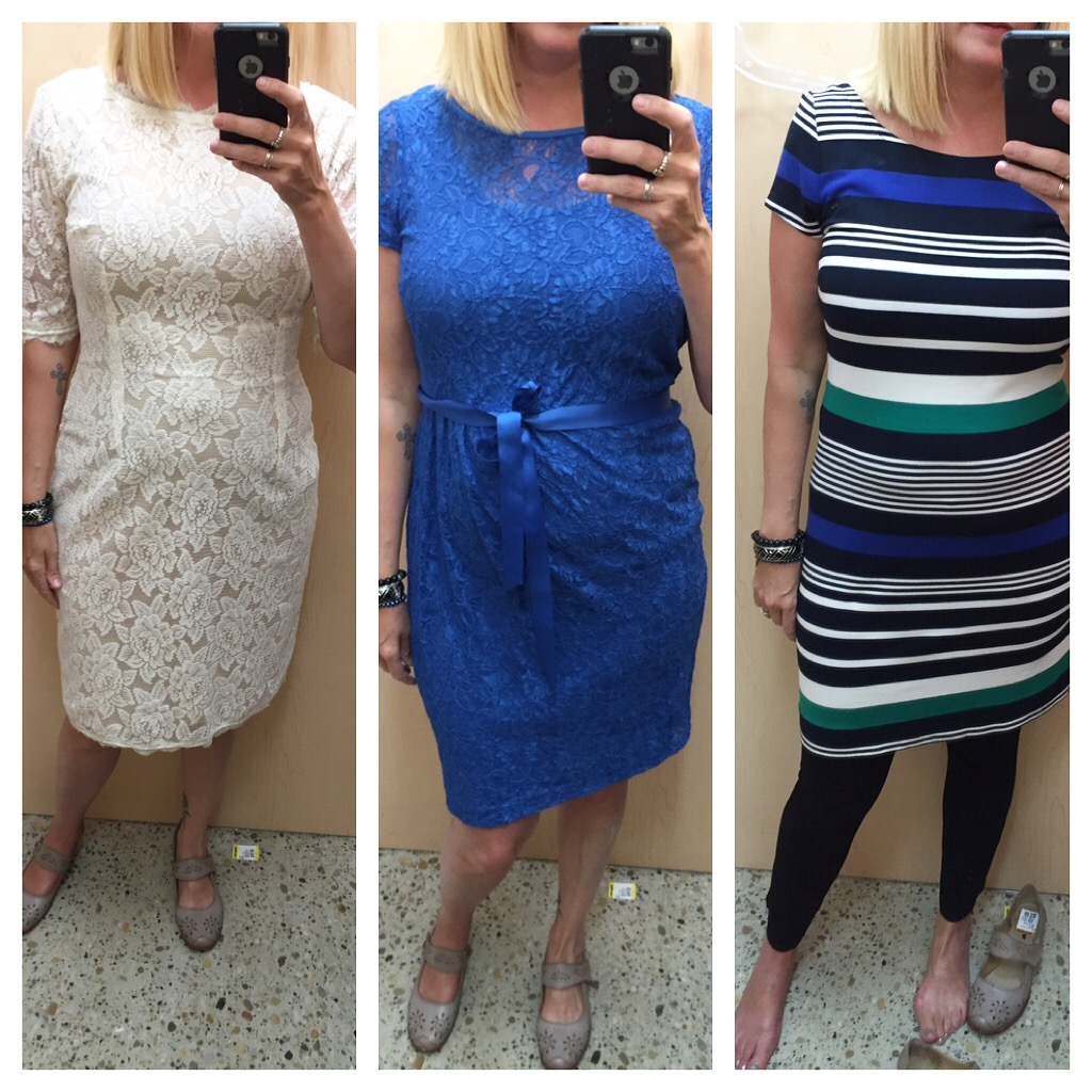 As for the fitting room finds, I did try a number of dresses that got voted out of the cart for one reason or another... #shouldagotthatstripeddress