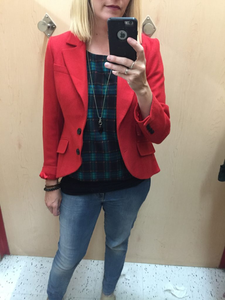 Adina also found me this red wool blazer!  Correction, she found it for herself but it was too big!  Which leads me to a practical thrifting tip - go with an expert thrifter who's not the same size as you!  #winwin