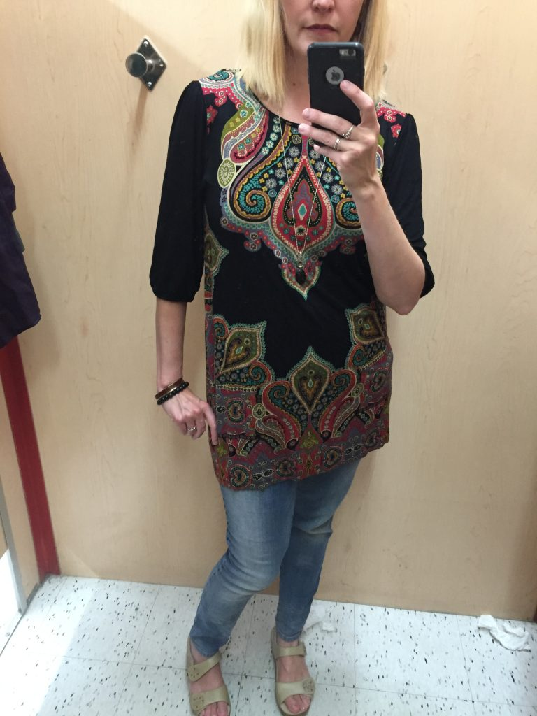 Lastly, I found this printed tunic for $9.10 - I like the colours and the style is very easy for me to wear to work.  NOT as a dress, don't worry.  Your children are safe. ;P