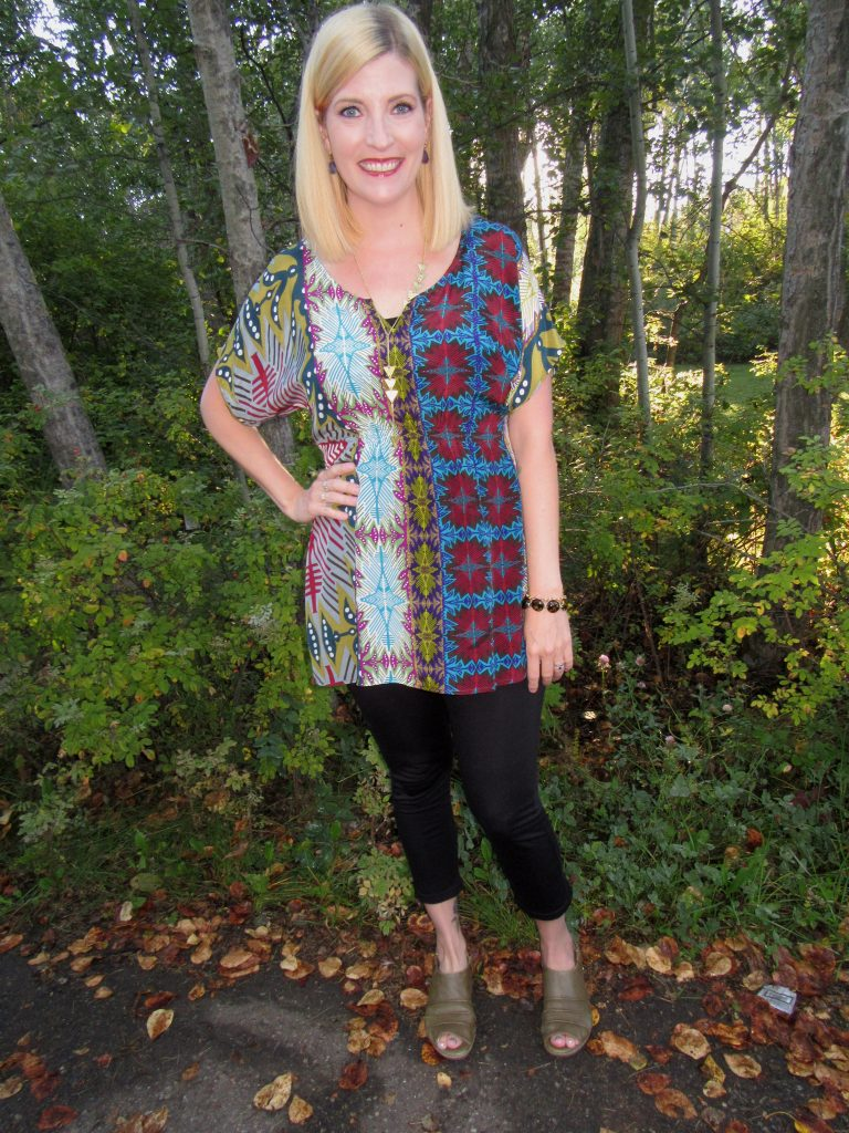 Fei tunic top $8, worn with Icebreaker leggings and Bussola sandals from Kunitz Shoes (purchased new as per PT orders!)