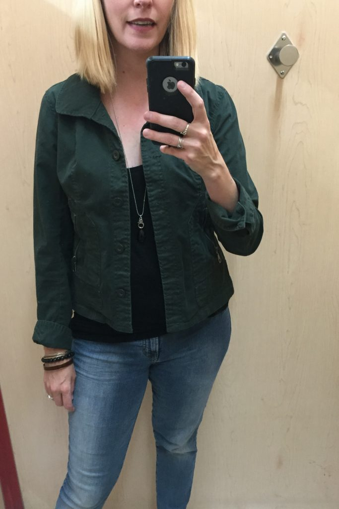 I liked this green jacket but it was an average find - and these days with my ample wardrobe, pieces need to be well above average or have great wearability to make it into my closet!  #ruthless