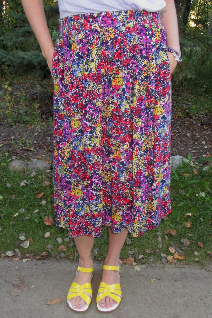 This vintage floral midi skirt also has pockets and sparks joy!