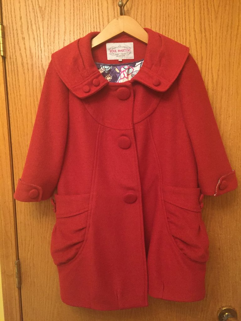 Pink Martini coat $14 - missing a button but I figure either people won't notice or I'll take one off the other side!  This is a Modcloth brand and has a total vintage vibe.  Coats also get excellent cost-per-wear over time so a worth paying a little more (!) up front!