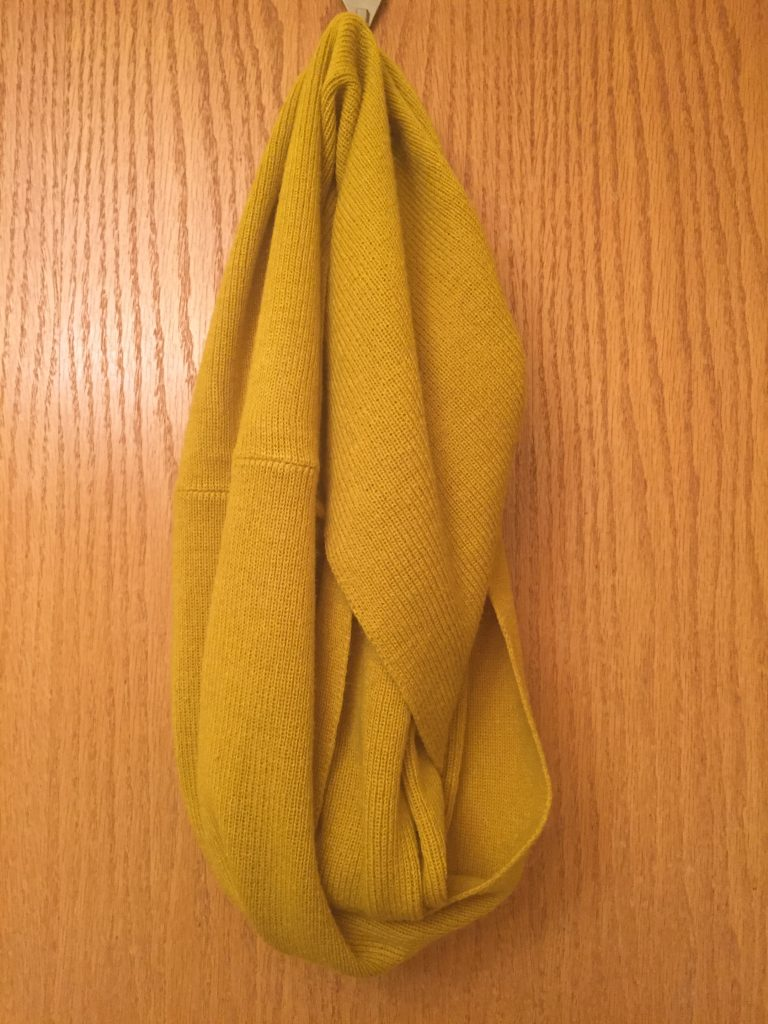 True mustard infinity scarf that I plan to wear with that CK dress, $4.