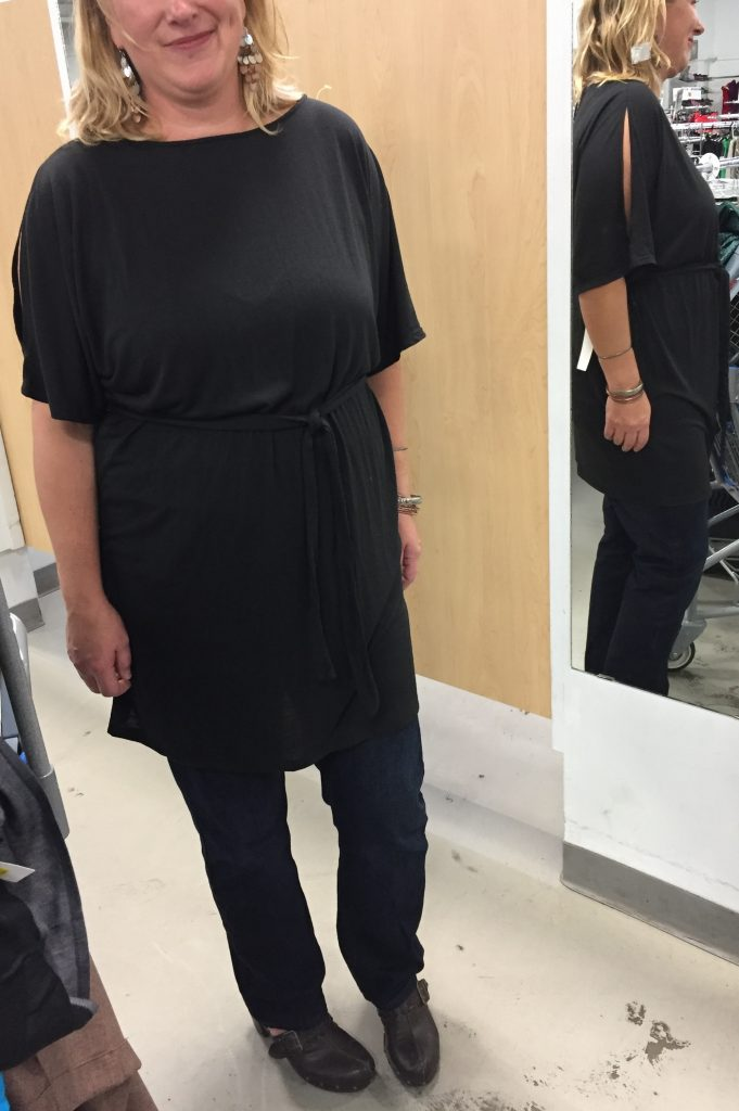 And my fave piece, a basic black jersey tunic.  The shoulder slits (??) add interest.  This piece is super versatile.
