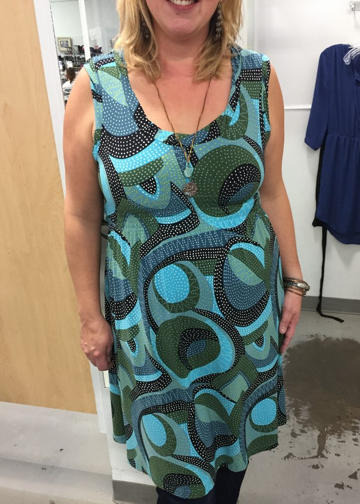 Blues and olives look amazing on Audrey, who is a also a talented artist when she can find the time.  This print reminded me of her stained glass creations and will work in the winter with tights or leggings and a cardi, and in the summer as is.