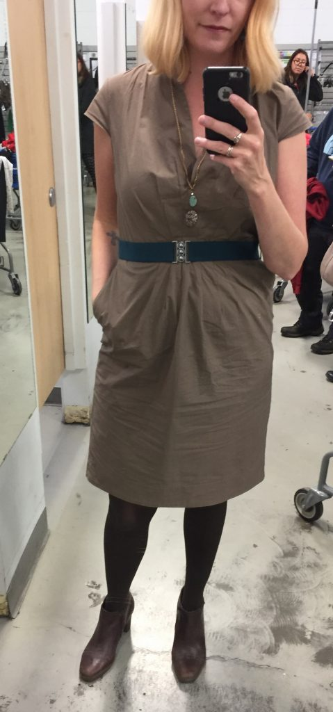 Hugo Boss dress $8, Clarks booties $10 plus She Does Create pendant and my new teal Flatter:Me belt which I adore!