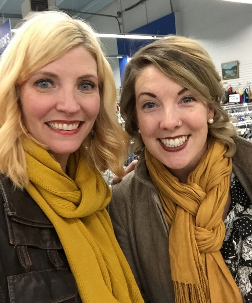 My friend Kristen - fellow mustard scarf afficianado - came out and blew my mind with her thrifting approach!