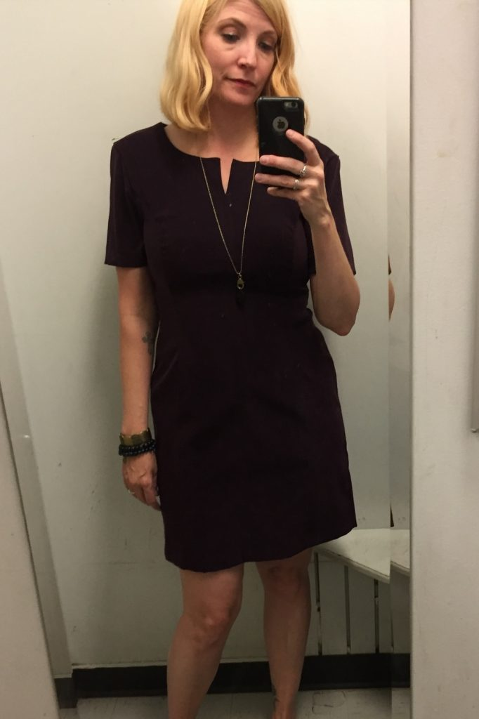 This dress was a great colour and a flattering fit but was too short and no pockets.  No.