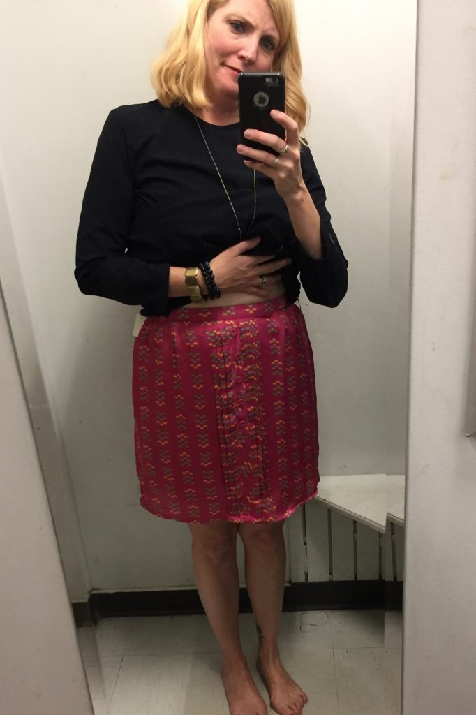 A fun pink silk skirt labelled as XL... No.