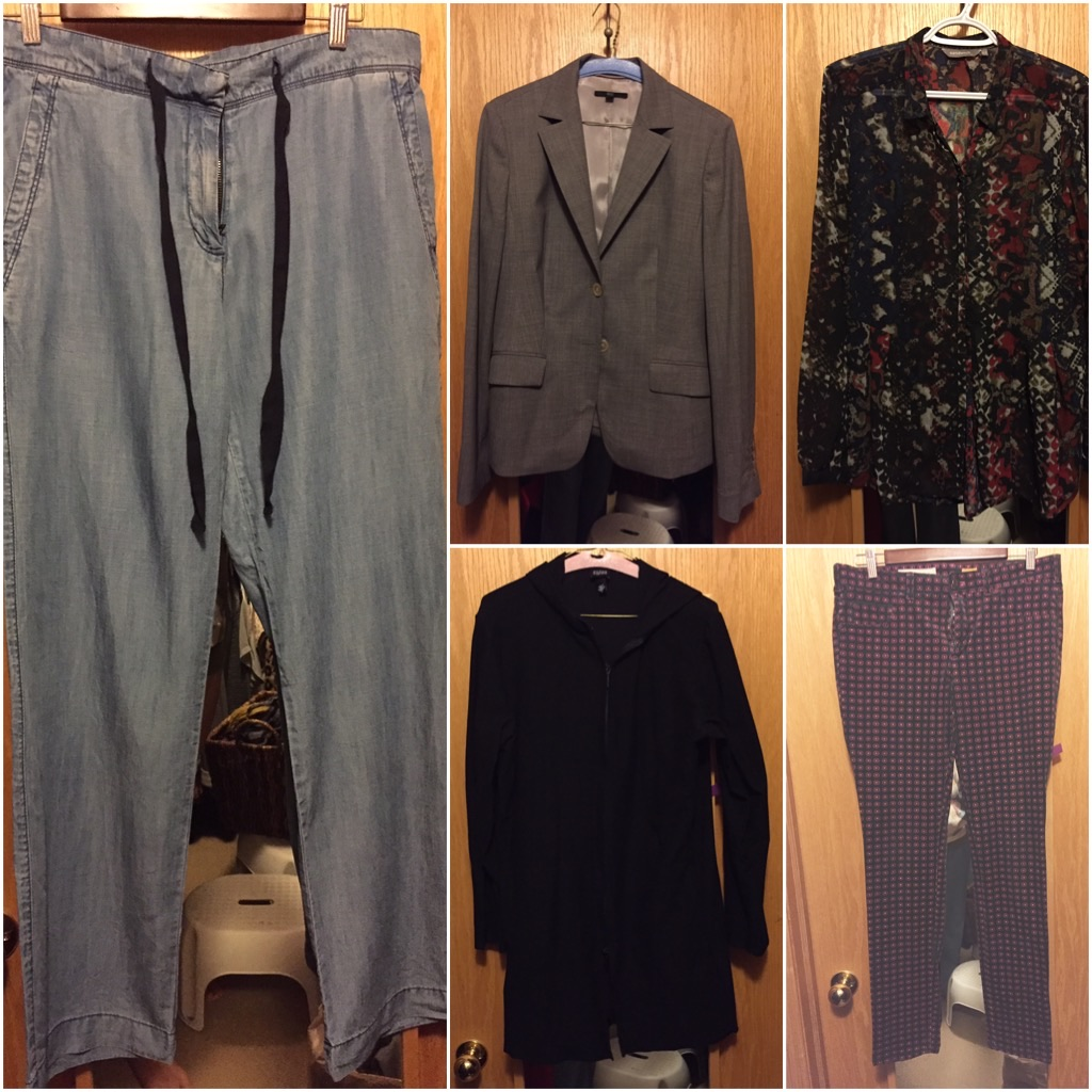 "Here were my ""core"" pieces for the week: $11 chambray pants, $5.60 Hugo Boss blazer, Sandwich blouse, Eileen Fisher black hooded sweater, Pilcro cord leggings."