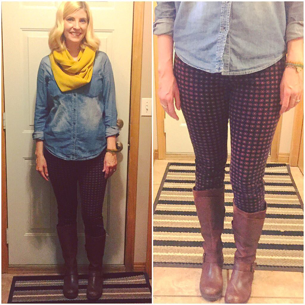 Tuesday's ensemble: Don't worry, none of these pieces are in the purge pile! Tuesday's was full of keepers: $4.20 chambray, $4.20 mustard scarf, $15 Blondo leather boots and Pilcro legging cords from @redpony109!