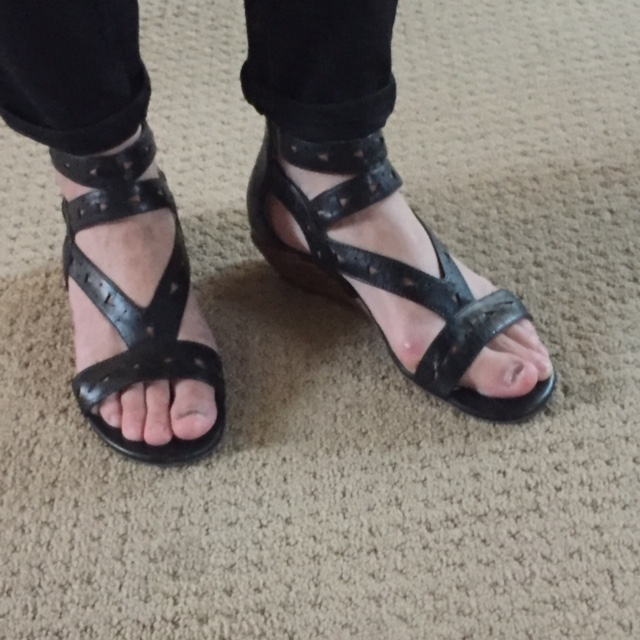 And also pretty nice to wear cute shoes like these Miz Mooz sandals without a giant bunion sticking out (on one side anyway!)!!