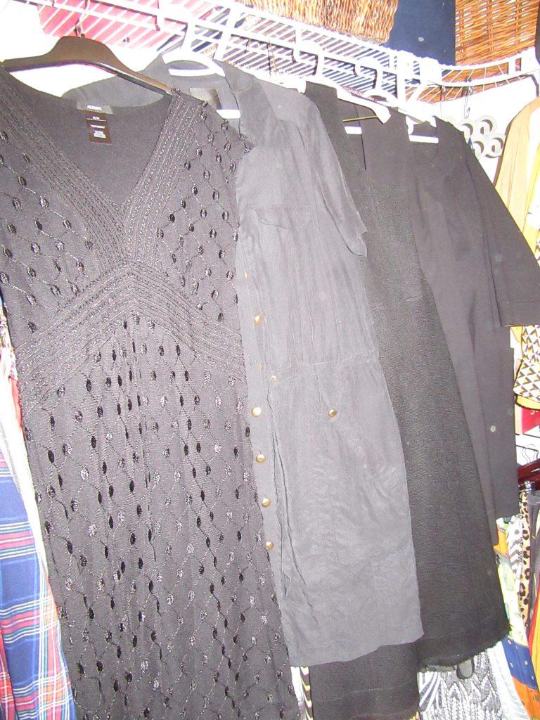 5 black dresses including Lida Baday, Liz Claiborne, Theory, and a silk UK brand...