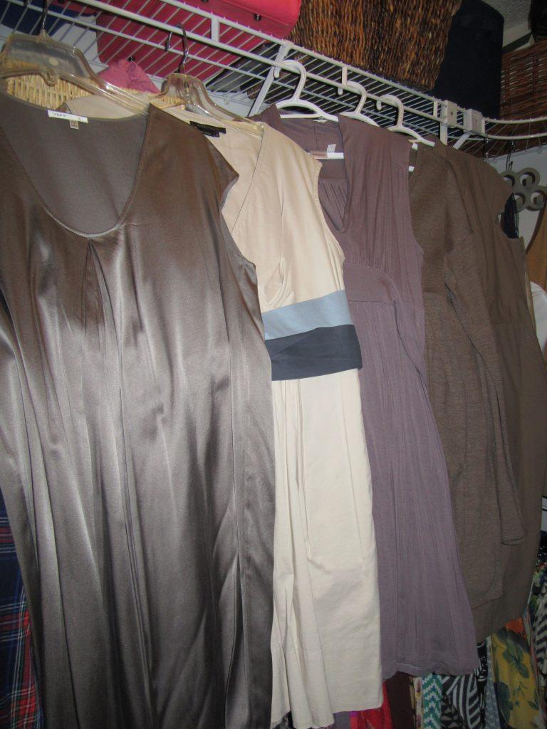 5 neutral dresses including Vince, BCBG, Oxmo, Hugo Boss and Nicole Miller