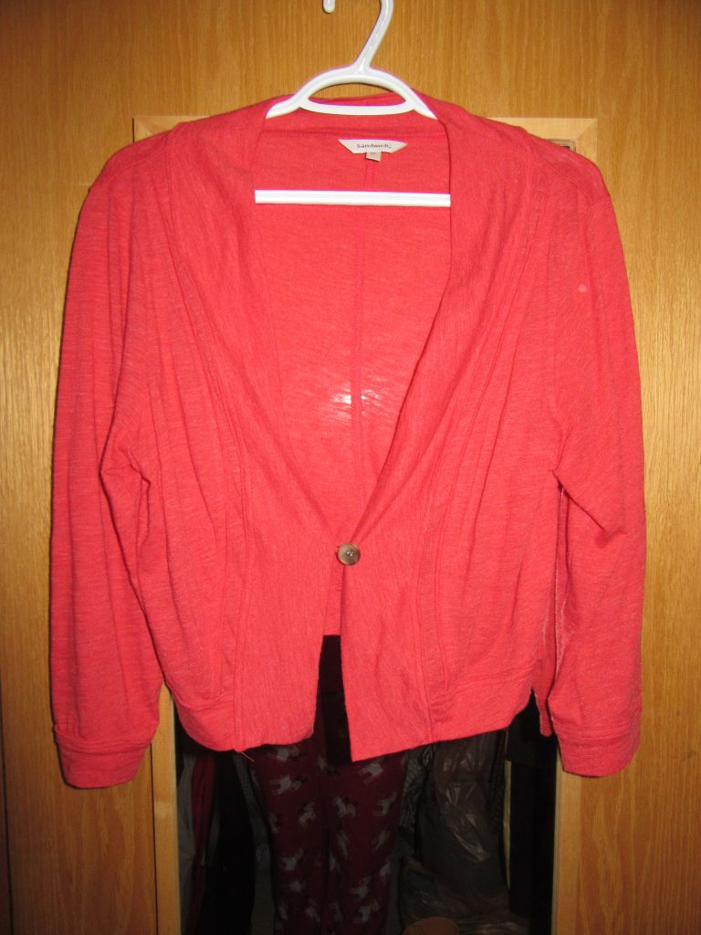 This red cardi is a handmedown and doesn't fit great though I love the colour. Enough said.