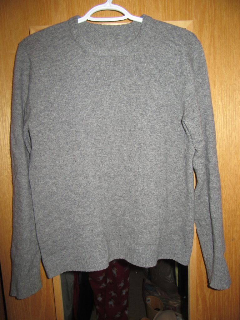 The grey sweater - this one isn't quite as roomy as I would like. It's only good, not great.