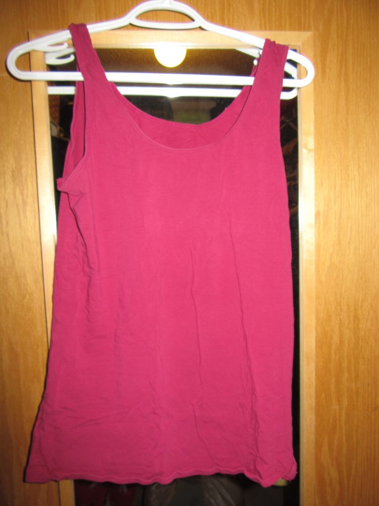 I also donated this hot pink tank. It should have gone with the Faded Glory Purge Prompt because it is so faded (hard to see in pics). I think I can find another great pink shell that looks better worn on its own.