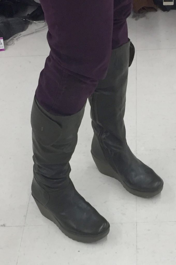 For starters, I stumbled upon these green Fly London boots in perfect condition - they looked unworn. I figure they were donated because they barely fit my skinny calves. Finally, this is an advantage!! This same pair in brown is currently selling for $365 and I paid $14 with a 30% off coupon. SCORE!