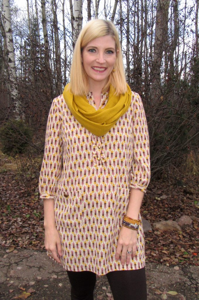 Mustard and blush print tunic $7