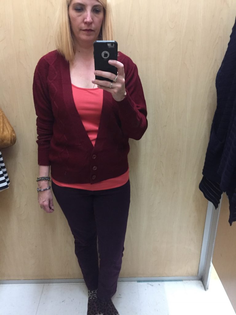 I'm looking for a plum/burgundy cardi and liked the retro style but the sleeves were a bit poofy for my taste.