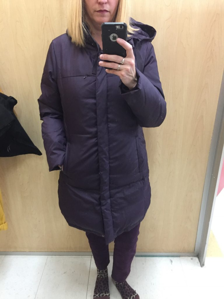 Also looking for a puffy coat but this one didn't have an inside pocket and felt like a lot of purple. With my pink snow pants, I'd be right back in grade 6 class photos with alternating pink and purple pieces...