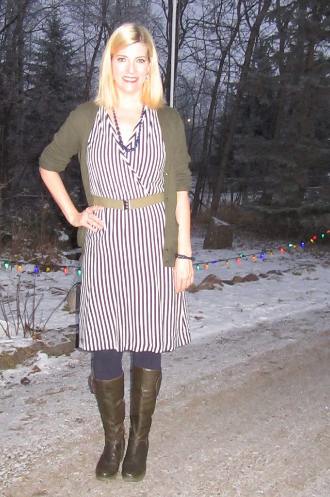 Striped Anthro dress, scored for $3.50. I thought I would wear it tons but I haven't.