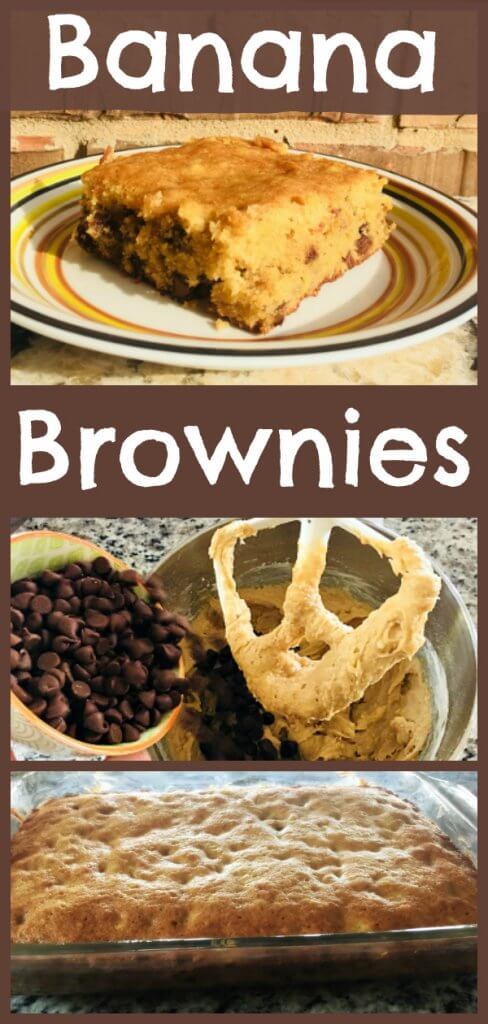 Banana Brownie Recipe by The Spirited Thrifter #bananabrownies #bananas #brownies #recipes #kidsbaking #blondies #bananarecipe #baking #easybaking