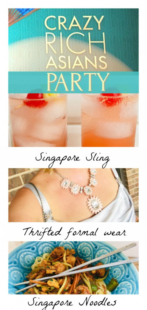 Crazy Rich Asians Party by The Spirited Thrifter with thrifted formal wear, Singapore Noodles recipe and Singapore Sling recipe #crazyrichasians #themeparty #cocktailrecipe #thrifted #thriftedfashion #thriftedformalwear #cocktails #singaporesling #singaporenoodles #recipe