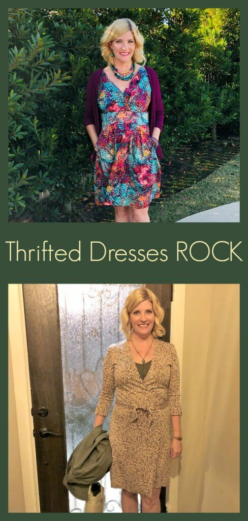 Thrifted DVF dress and thrifted dress with pockets by The Spirited Thrifter