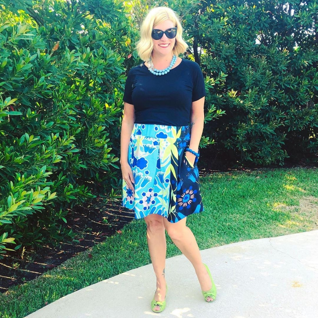 Printed Maeve skirt with black top answering whether prints are still in style in 2020 - YES!