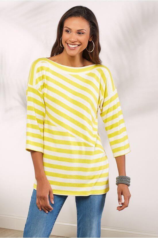 Soft Surroundings yellow stripe top.