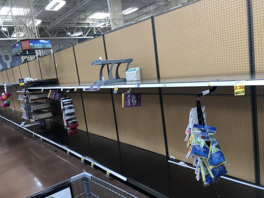 Empty shelves on March 13, 2020.